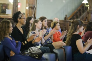"Audience members at Brooklyn Historical Society's annual ""What Are You?"" program, part of the ""Crossing Borders, Bridging Generations"" mixed-heritage oral history and public programming initiative. Courtesy of BHS."