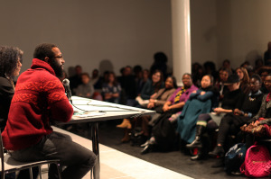 "Author Baratunde Thurston leads a free BHS program entitled ""A Conversation About Conversations About Race"" in November, 2014. Courtesy of BHS."
